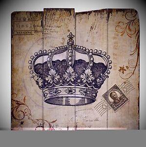 Brillant Armoiries 2 Blason Couronne épée Holzschilder Cadeaux Nostalgie Déco-afficher Le Titre D'origine