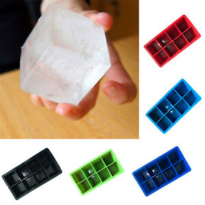 Food-Silicone-Ice-Square-Tray-Mold-Mould-Big-Giant-Large-8-Cubed-Ice-Maker-Tool