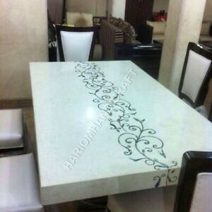 Details About 5 X3 Italian White Marble Dining Table Top Handmade Inlay Precious Decor E950d