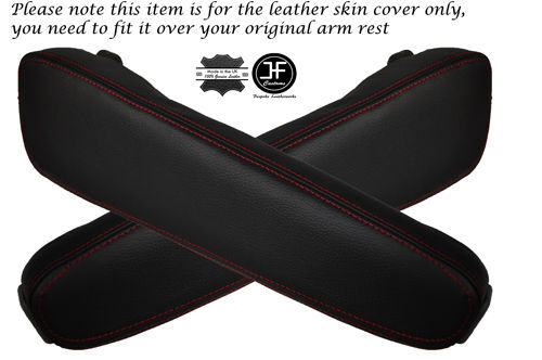 RED STITCH FOR BMW E34 1989-1995 2X LEATHER ARMREST COVERS ONLY
