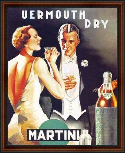Vermouth Dry Martini, 1930 - By D. Lubatti. Walnut Frame #4
