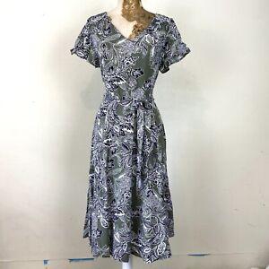 M-amp-Co-Dress-12-Green-Floral-Aline-Fit-Flare-Sundress-V-Neck-Floaty-Summer-Holiday