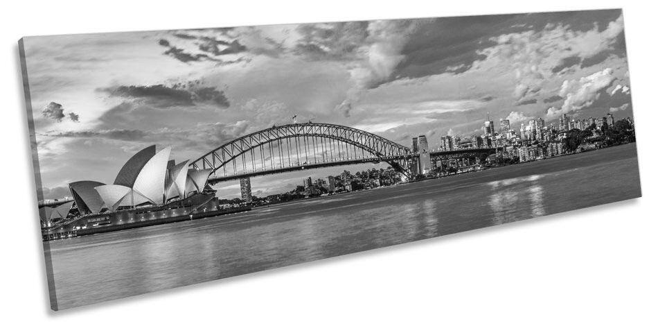 Sydney Harbour Stadt Skyline B&W CANVAS Wand Kunst Pano Framed Drucken