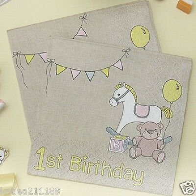 Rock A Bye Baby 1st birthday pink rocking horse & teddy bear 20 napkins