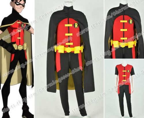 Young Justice Cosplay Robin Costume Halloween Party Outfit Stretchable Fabric