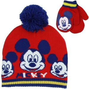 8b86c3e3a Details about MICKEY MOUSE BOYS WINTER HAT & MITTENS SET