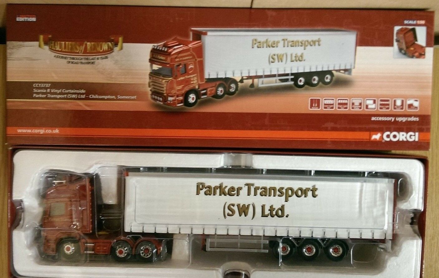 Corgi CC13737 Scania R Vinyl Curtainside Parker Transport Ltd Ed Factory Sample