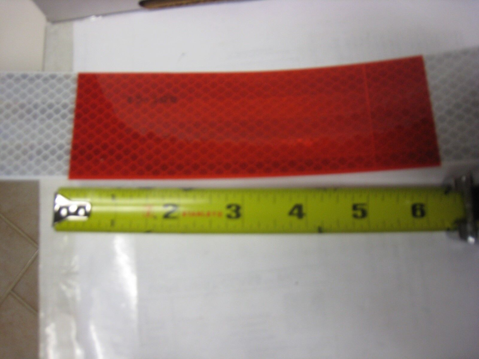 "ROLLS  WHITE RED Reflective   Conspicuity Tape  7//8/"" x 50/' 6/"" x 6/"" repeat 4"