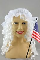 Betsey Ross Revolutionary Woman's Costume Kit Wig Mop Cap Flag Betsy Ross