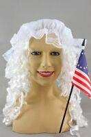 Betsey Ross Revolutionary Woman's Costume Kit Wig Mop Cap Flag Betsy Ross