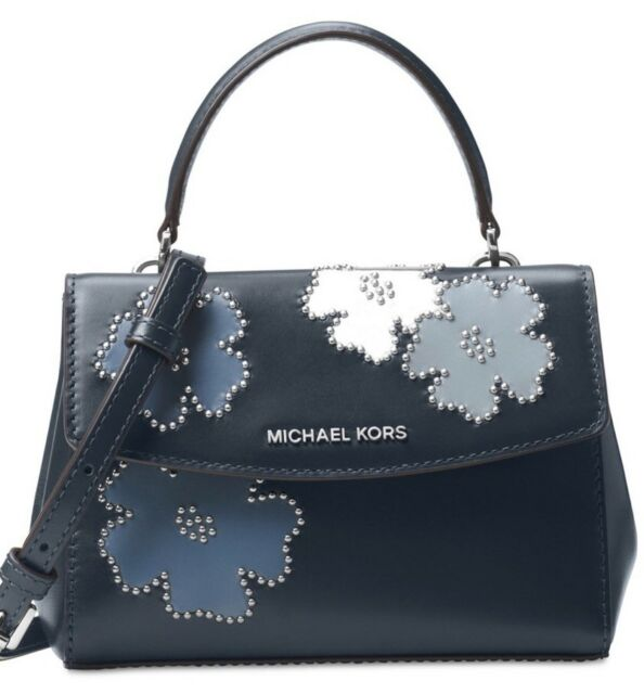 7727027dbbb4 New Michael Kors Ava XS Mini Crossbody saffiano leather bag navy admiral  floral