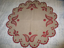 Antique Hand Embroidery Table Cloth-Doily-Red Embroidery on Ivory Linen