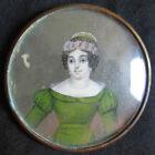 ancienne miniature peinte jeune femme fin XVIII ème ou début XIX ème