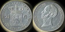 Netherlands :1849 2 1/2 Gulden XF+ Past Cleaning,Scrs Both Sides  # 69.2  IR4529