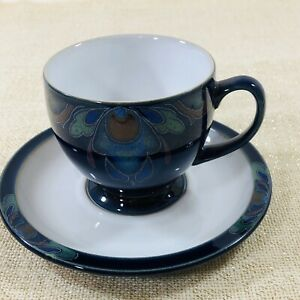 Denby-Langley-Baroque-Pottery-Teacup-amp-Saucer-Handcrafted-England-Art-Nouveau