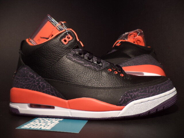 finest selection 3d299 606fa 2013 Nike Air Jordan III 3 Retro BLACK CRIMSON RED WHITE CEMENT GREY PURPLE  10.5
