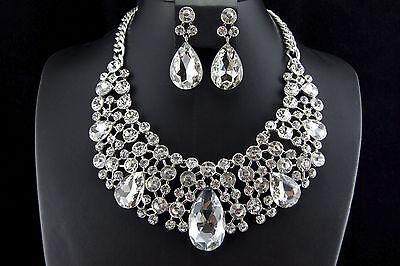 Luxury Wedding Bridal Crystal Rhinestone Necklace Earring Party Prom Jewelry Set