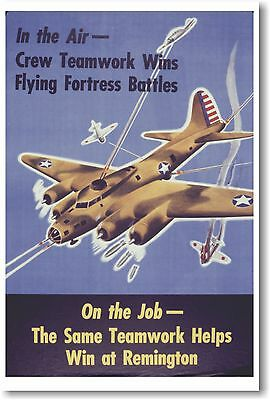 In the Air Crew Teamwork Wins - NEW Vintage Reprint POSTER