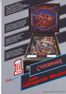 CYBERNAUT-By-BALLY-WULFF-ORIGINAL-RARE-GERMAN-PINBALL-MACHINE-PROMO-SALES-FLYER