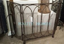 NEW FRENCH THREE Panels TWISTED ROPE TASSEL FEET Gold Fireplace Screen WITH MESH