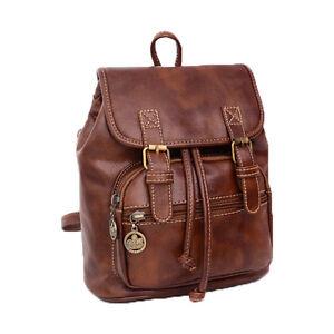 765ef3bbb85 Womens Retro Leather Backpack Girls School Bookbag Satchel Casual ...