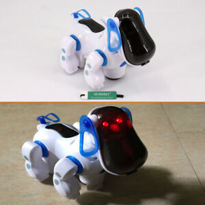 Blue-For-boys-Girl-Robot-Puppy-Dog-Flashing-Light-amp-Sound-Walks-Barks-Bump-039-n-039-Go