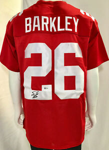 sports shoes de284 fb027 Details about Big Blue Saquon Barkley Signed Jersey Red Auto - Beckett BAS