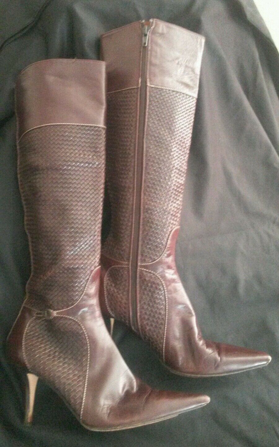 Cole haan brown leather knee high stiletto heel boots size 7.5