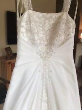 Davids Bridal A line Chiffon Split Front Overlay Wedding Dress V9010 Size 4P
