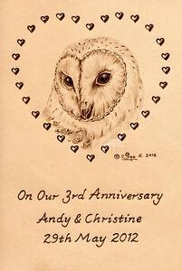 Personalised-Barn-Owl-Bird-3rd-Wedding-Anniversary-6-034-x-4-034-Leather-Artwork