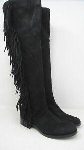 8b371461da135 Details about Sam Edelman  Josephine  Tall Fringe Trim Boot Black - 5 NEW