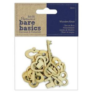 12 x Papermania Bare Basics chiavi in legno 7.5cm Card Making Scrapbooking crafts