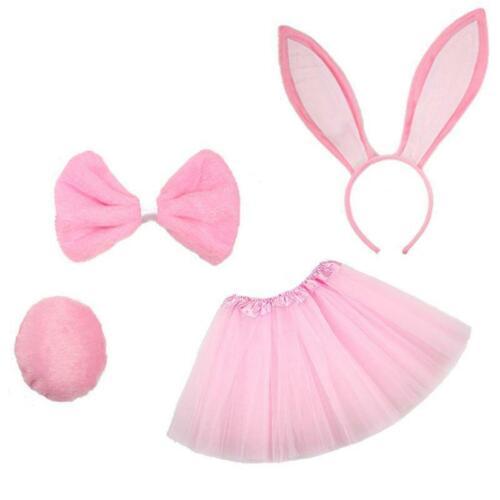 4Pcs Kids Rabbit Cosplay Costume Set Tutu Skirt Bunny Ears Headband Bowtie Tail