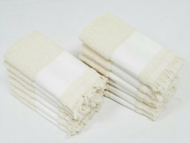 Towels Marshall Quentin 1 dz New Lot of 12 White 13x13 Cotton Huck Wash Cloths