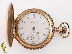 Elgin-Grade-206-Full-Hunter-Gold-Filled-Pocket-Watch-7-Jewel-Size-6s-1903