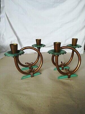 Last Style Antiques Coppia Candelabri Vintage In Ottone Molto Art Nouveau Vedi Foto