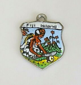 FIJI-ISLANDS-Vintage-Silver-Enamel-Travel-Shield-Charm-for-Bracelet