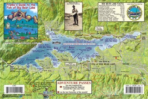 Big Bear Lake California Laminated Map /& Fish Card by Franko Maps