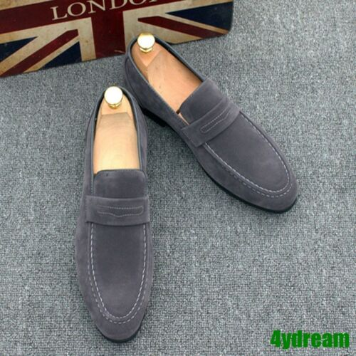 Stylish Mens Slip On Pointed Toe Loafers Punk Faux Suede Driving Dress Shoes 44