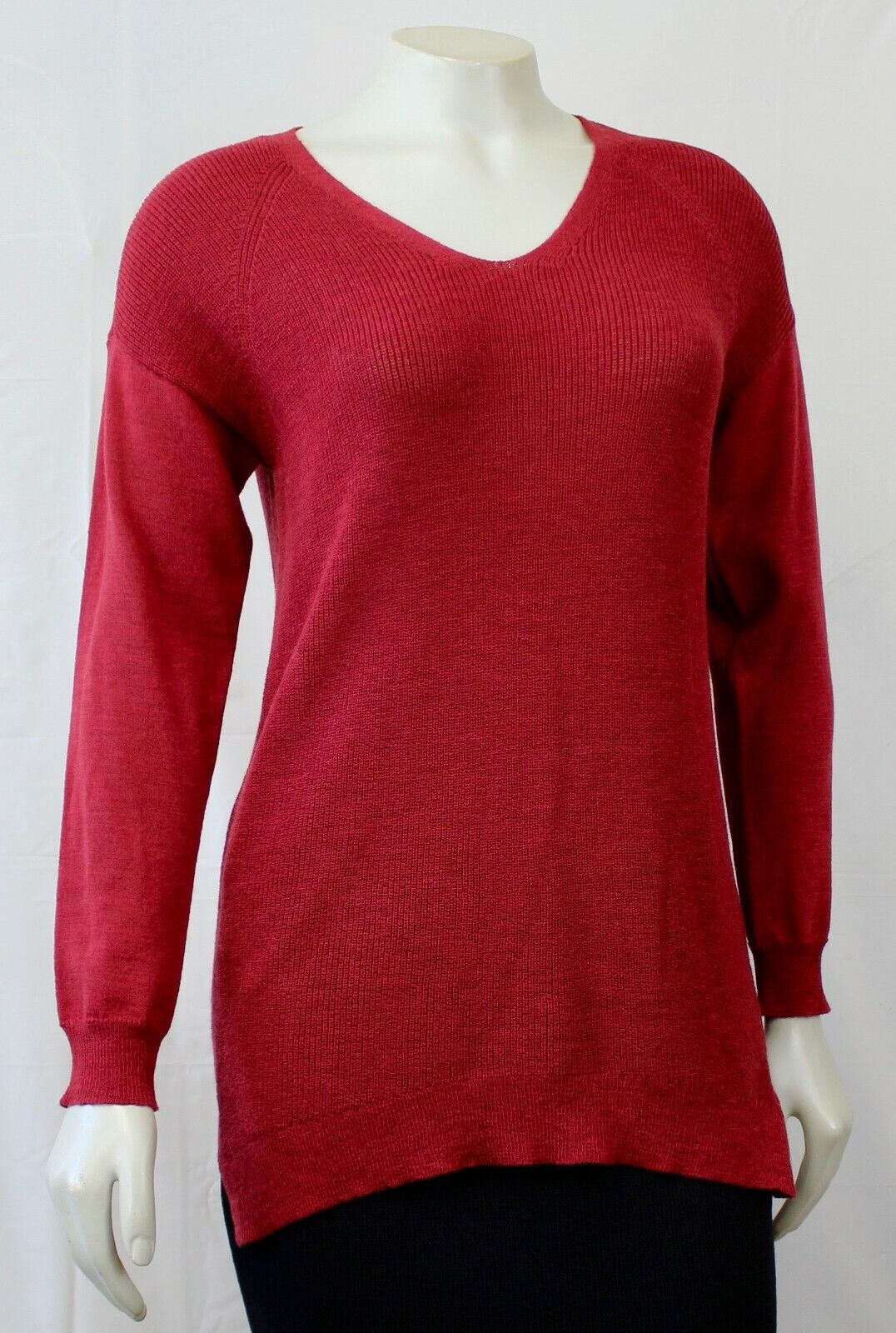 NEW Eileen Fisher Petite V-Neck Red Long Sleeve Waffle Knit Sweater