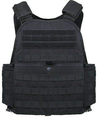 Black Military Police Security Tactical Molle Plate Carrier Assault Vest 8922