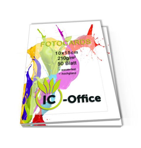 100 Blatt Fotopapier Fotokarten 10x15cm 210g//m² Fotocards glänzend weiß glossy