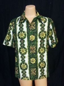 VTG-70s-Ui-Maikai-Hawaiian-Shirt-Top-Floral-White-Green-Yel-Org-Hipster-Riding-L