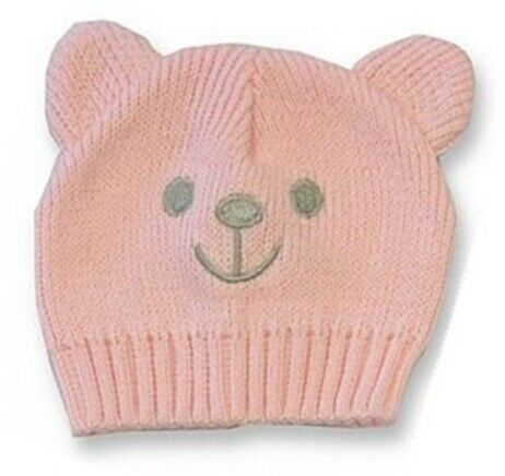 Premature Hats Knitted Cotton Bear Blue Pink Pram Hat Tiny Baby Warm One Size 27