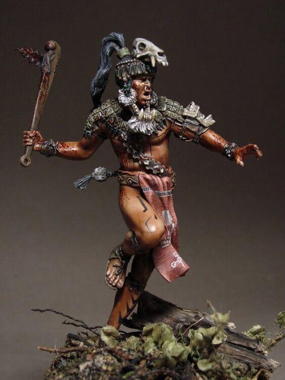 Tin soldier,museum, Maya Warrior 2, Apocalypto, Maya civilization, Indian, 75 mm
