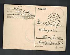 1940 Germany Waffen SS Feldpost Postcard Cover Posen Poland to Vienna