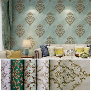 Details About 10m 3d Vintage Elegant Gold Damask Wallpaper Embossed Textured Non Woven Roll