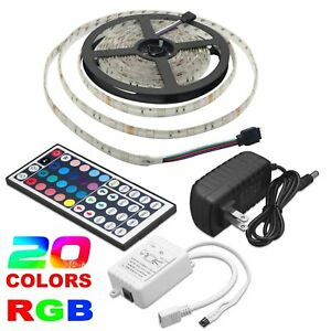 5M-RGB-5050-Waterproof-LED-Strip-light-SMD-44Key-Remote-12V-US-EU-Power-Full-Kit