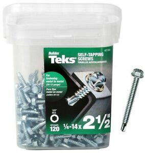 "Teks 21358 Self-Tapping Screws, #14 x 2-1/2"", 120 Piece"