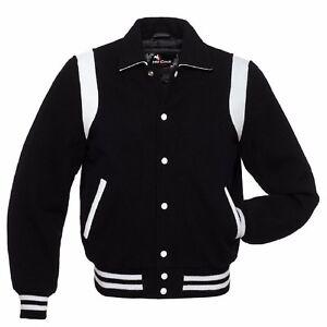 scolpito del nera Giacche con college colletto nero universitario baseball massiccia lana costole in da 1wFqHx